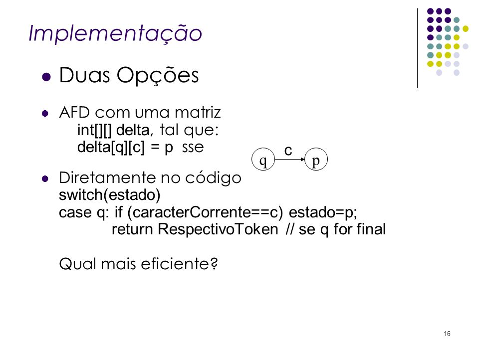 Implementação Duas Opções AFD com uma matriz int[][] delta, tal que: